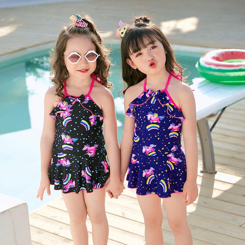 2019 Item Swimwear Cartoon Korean-style Children Dress-Bathing Suit Small CHILDREN'S Swimwear 9666 Tour Bathing Suit