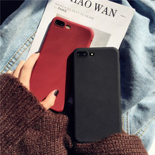 Phone Case For iPhone 7 8 6 S 6s Plus Simple Plain Black Wine Red Frosted Matte Soft Silicone Back Cover For iPhone X Coque Case 2 in 1 protective plastic silicone back case for iphone 5c deep red black