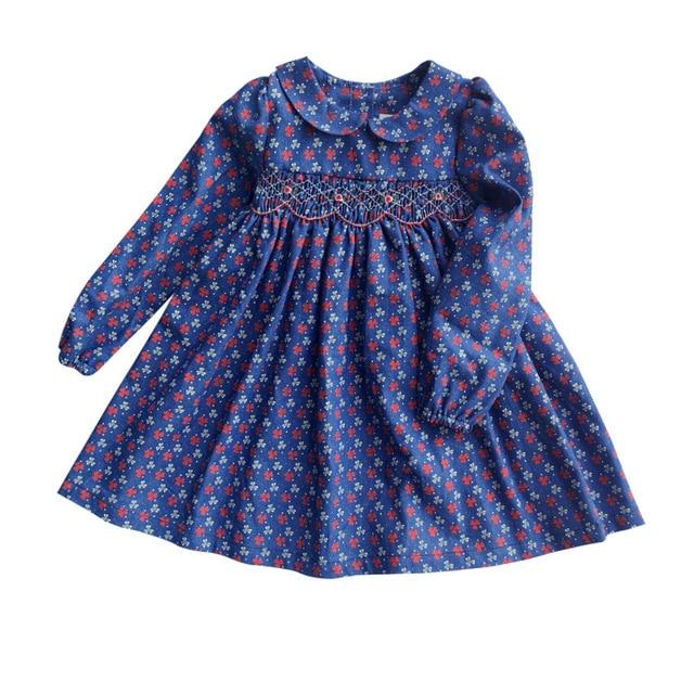 New Spring Autumn Kids Floral Printed Peter Pan Collar Handmade Smocking Belt Button Girls 3 7yrs Full sleeved Cotton Dresses