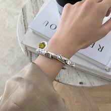 XIYANIKE-pulsera de plata de primera ley estilo étnico para mujer, brazalete, plata esterlina 925, Estilo Vintage, desgastado, elegante, elegante