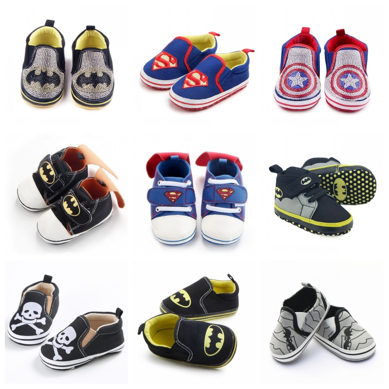Cartoon Anime Superman Baby Shoes For Boys And Girls Batman Casual Sneaker Infant Toddler Shoes 0-18 Months