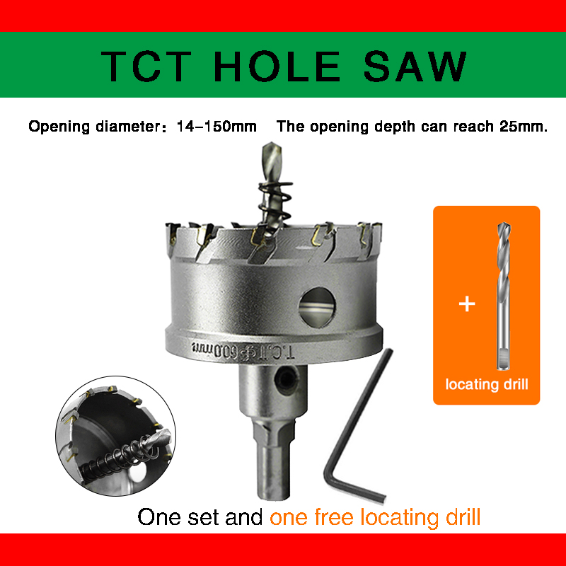 Бесплатная доставка, коронка для отверстий 14-150 мм TCT, твердосплавная кобальтовая сталь, инструмент для резки из нержавеющей стали, железа, м...