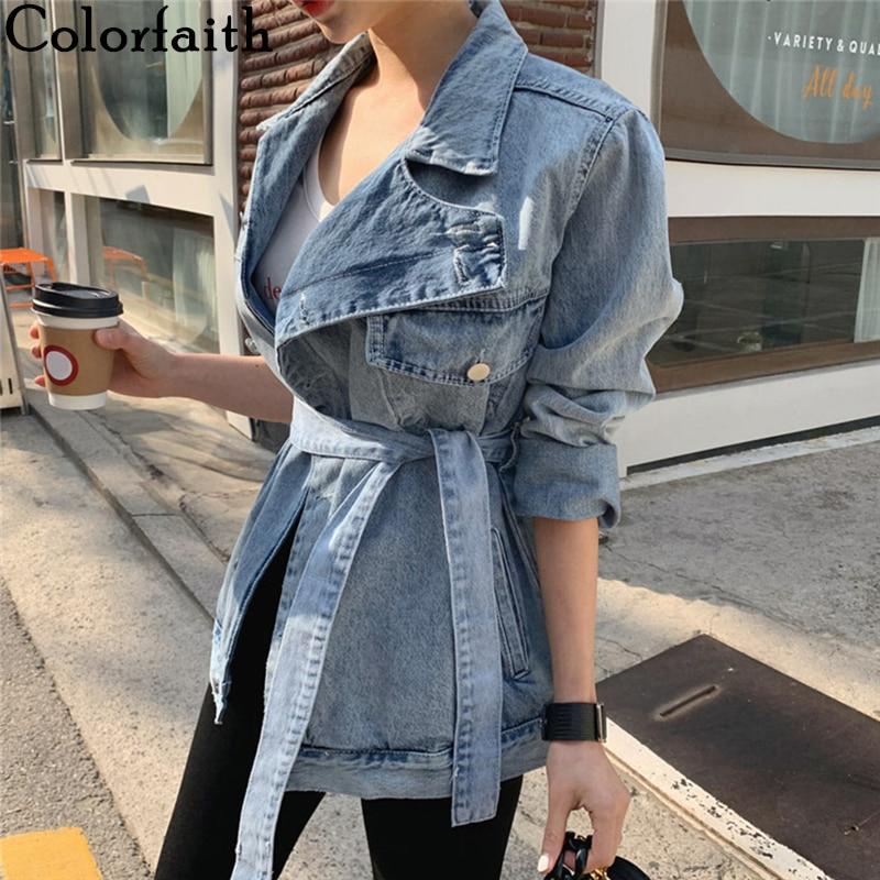 Colorfaith New 2020 Spring Autumn Women's Denim Jackets Casual Turn-down Collar Sashes Streetwear Asymmetrical Jeans Tops JK6775