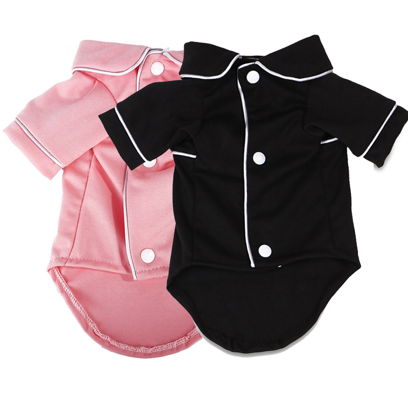 New Dog Shirt Pet Dog Clothes Cotton French Pajamas Suitable For Small Medium Dog Cats 2-legged Button Pink Black Pet Pajamas #y