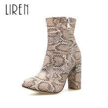 Liren 2019 Spring/Autumn PU Women Fashion Snake Pattern Sexy Zip Ankle Boots Air Mesh Square High Heels Pointed Toe Lady