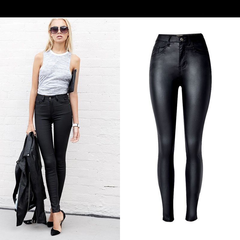 Autumn Winter High Waist Slim Stretch Coated Faux Leather Pants Denim Pants PU Pocket Wild Large Size Fashion Casual Jeans K168