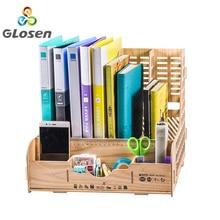 DIY Storage Box Multifunction File Holder Wooden Document Desktop Office Desk Organizer School Supplies Glosen D9121
