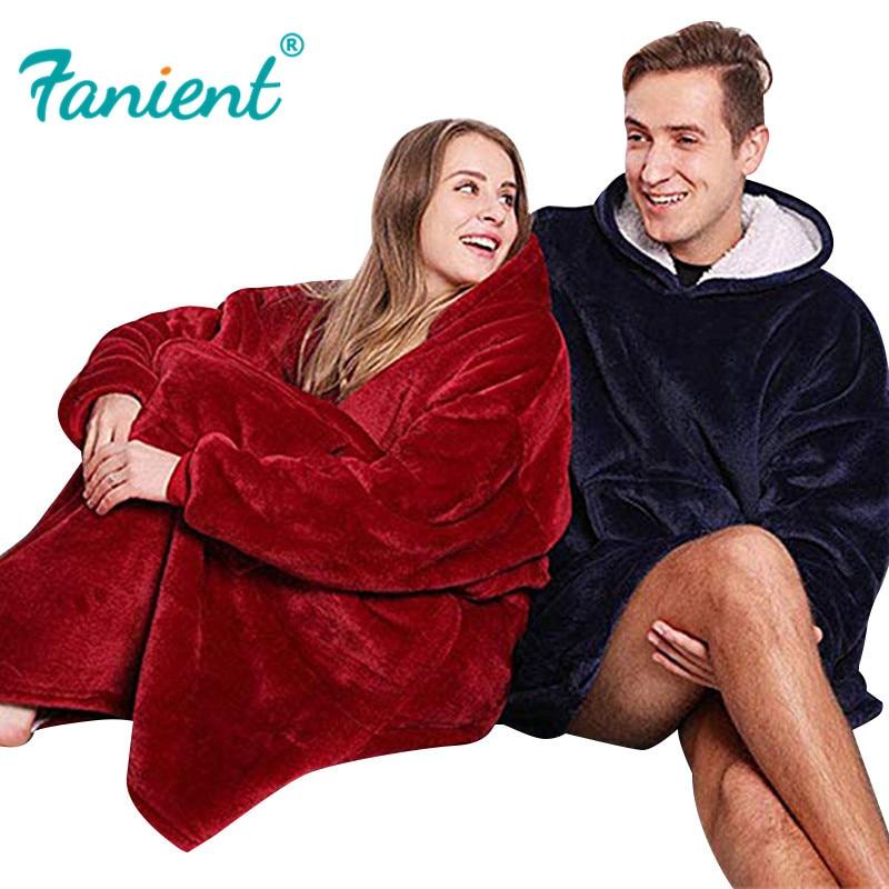 Winter Christmas Blanket Sweatshirts Oversized Hoodies Giant For Women Hoody Plaid With Sleeve Sudadera Mujer Moletom Feminino