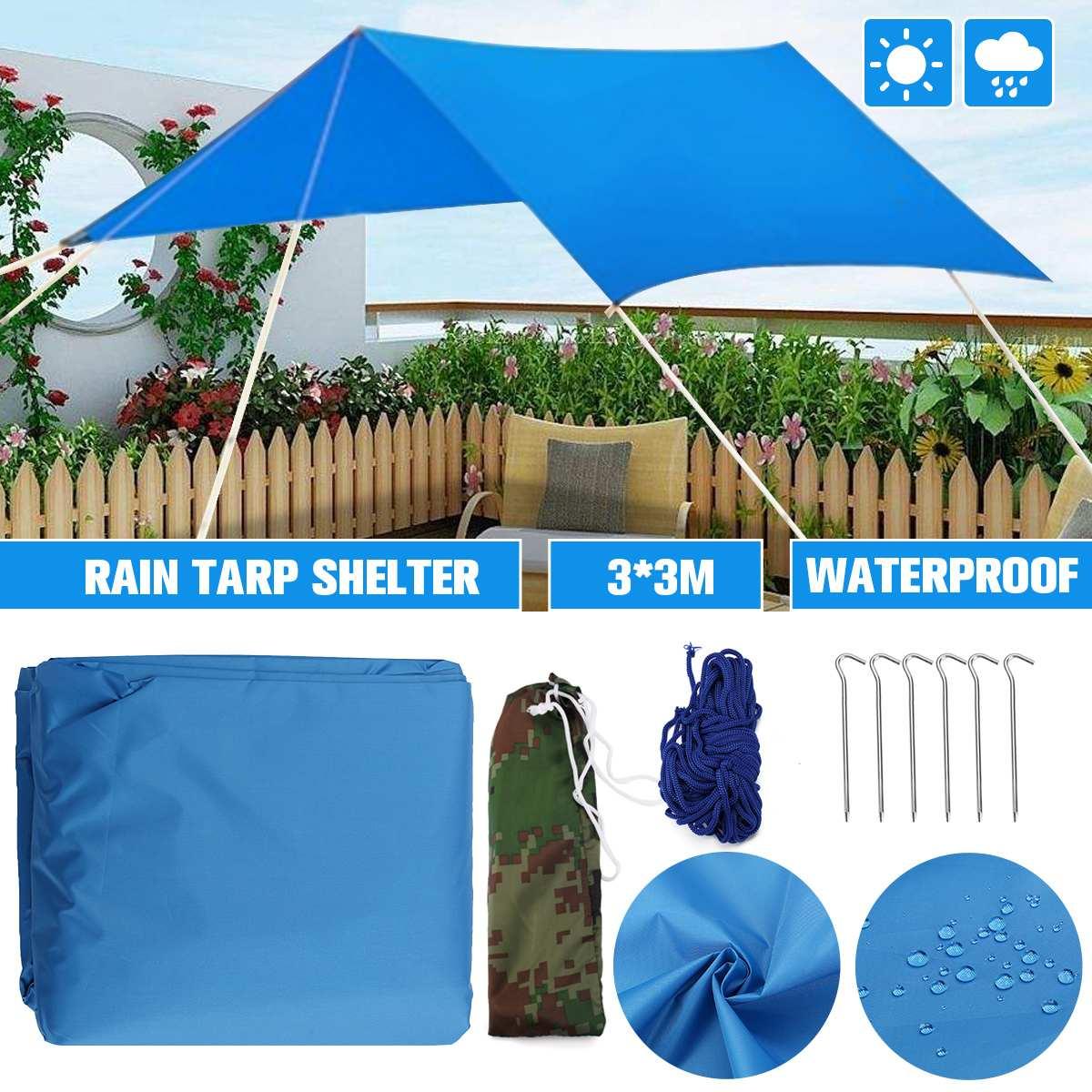 3*3m étanche soleil abri parasol Protection extérieure auvent jardin Patio piscine ombre voile auvent Camping pique-nique tente avec corde