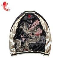 Japanese Cherry Blossoms Dragon Totem 2 Side Wear Yokosuka Embroidery Jackets Women Autumn Baseball Coats for Lovers Overcoat