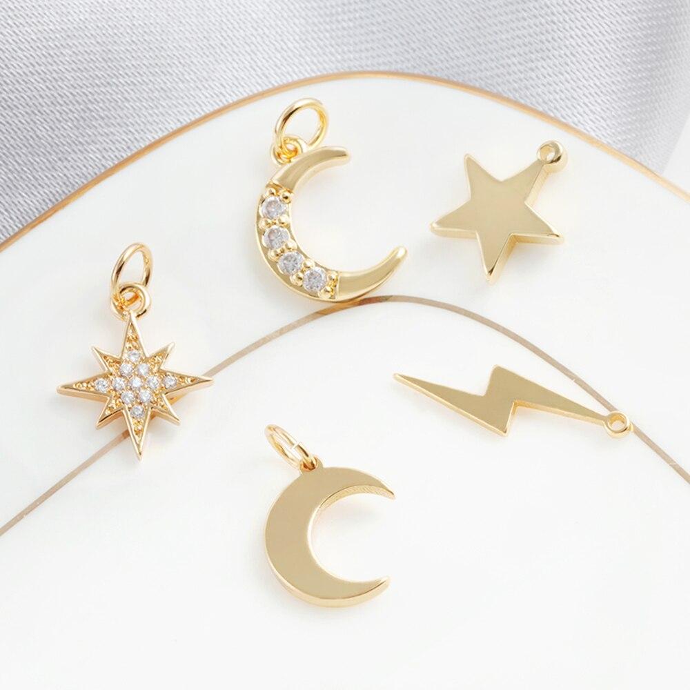 Подвески в виде Луны, звезды для изготовления ювелирных изделий оптом солнцезащитные Lightning подвески, сделай сам, серьги ожерелья, браслеты, ...