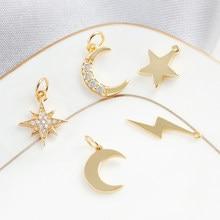 Abalorios de estrella y Luna para fabricación de joyas, rayo solar a granel, colgante, pendiente, collar, pulsera, accesorios de cobre