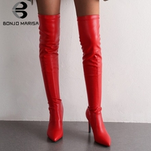 BONJOMARISA New 34-43 Pointed Toe Over The Knee Boots Ladies Sexy Thigh High Boots Women 2019 High Heels Date Shoes Woman hot runway sexy women boots stretch silk pointed toe stiletto high heels over the knee boots jersey thigh high boots shoes woman