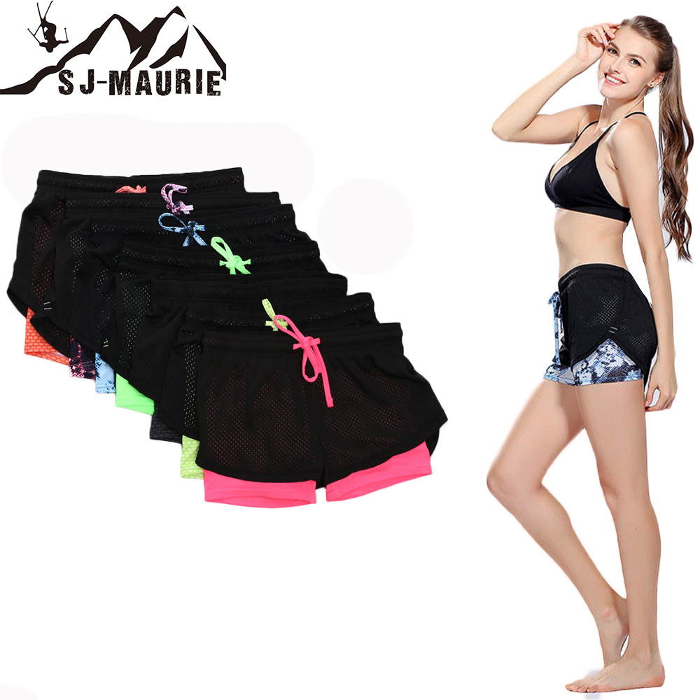 SJ-Maurie Womens Running Shorts Breathable Running Tights Short Women's Gym Sport Fitness Short Running Femme 2 In 1