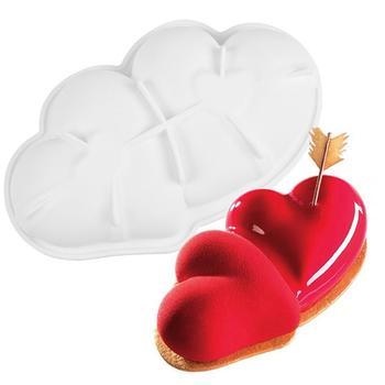 Podwójne serce kształt ciasto formy silikonowe mus formy silikonowe formy ciasto DIY formy do pieczenia Pan ciasto dekorowanie narzędzia tanie i dobre opinie CN (pochodzenie) Ekologiczne Na stanie Z gumy silikonowej 6675381