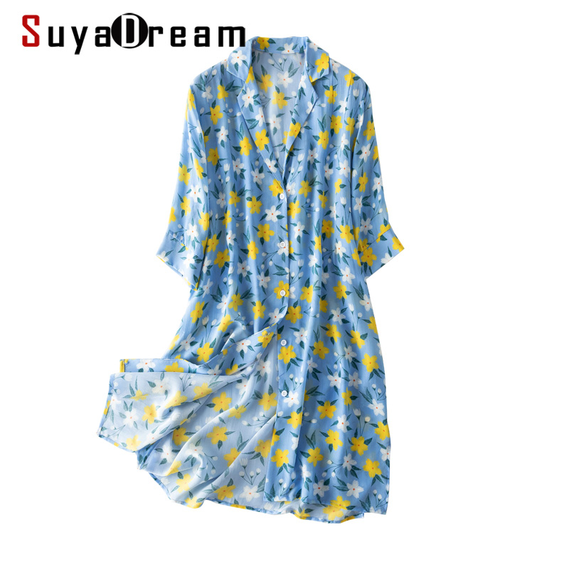 Women Floral Printed Long Blouse 100% REAL SILK Crepe Turn Down Collar Blouse Shirt Chinese Style 2020 Summer Shirt