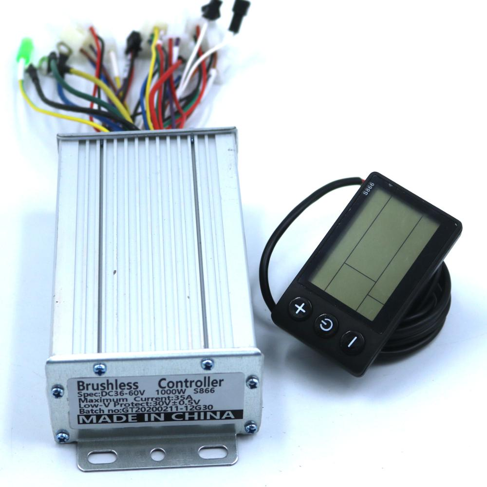 GREENTIME 36V/48V /60V 800/1000W BLDC Electric Scooter Controller E-bike Brushless Speed Driver And S866 LCD Display One Set
