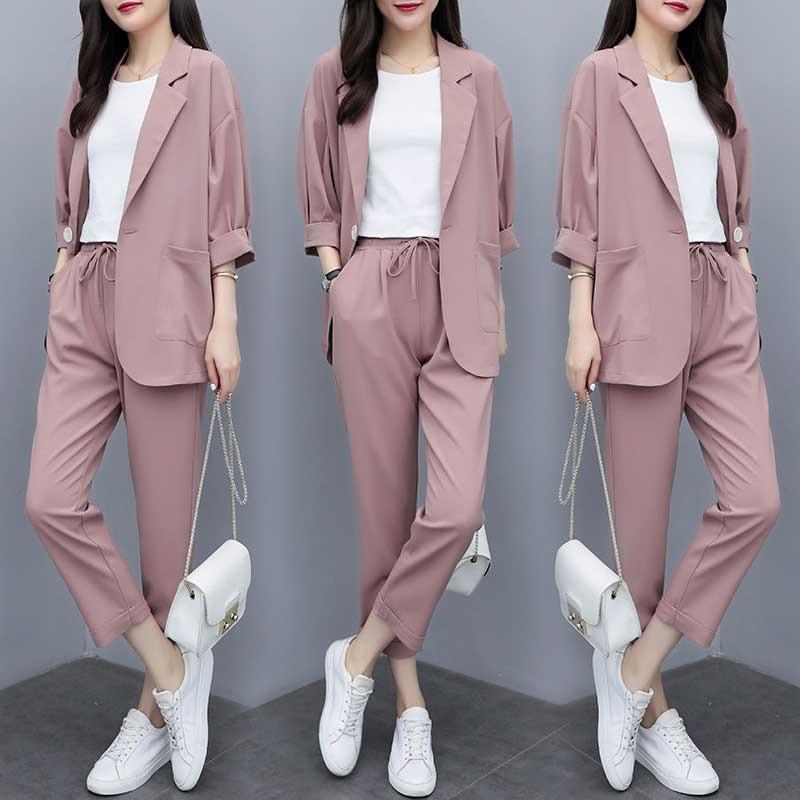 Ladies Suit Autumn New Fashion Temperament Thin Section Loose Suit Elastic Waist Pants Suit Wild Women's Two-piece Suit