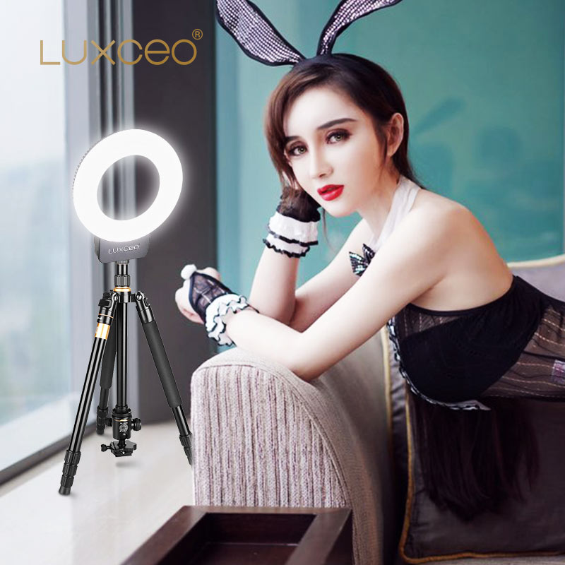 Купить с кэшбэком NEW USB Rechargeable LED Circle Ring Light Phone Camera Makeup Lighting Photography Camera LED Ring Light for Live Stream