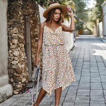 2021 Fashion Women Summer Cotton Print Floral Suspender Skirt Polka Dot Sundress Party Drawstring Holiday Long Dresses