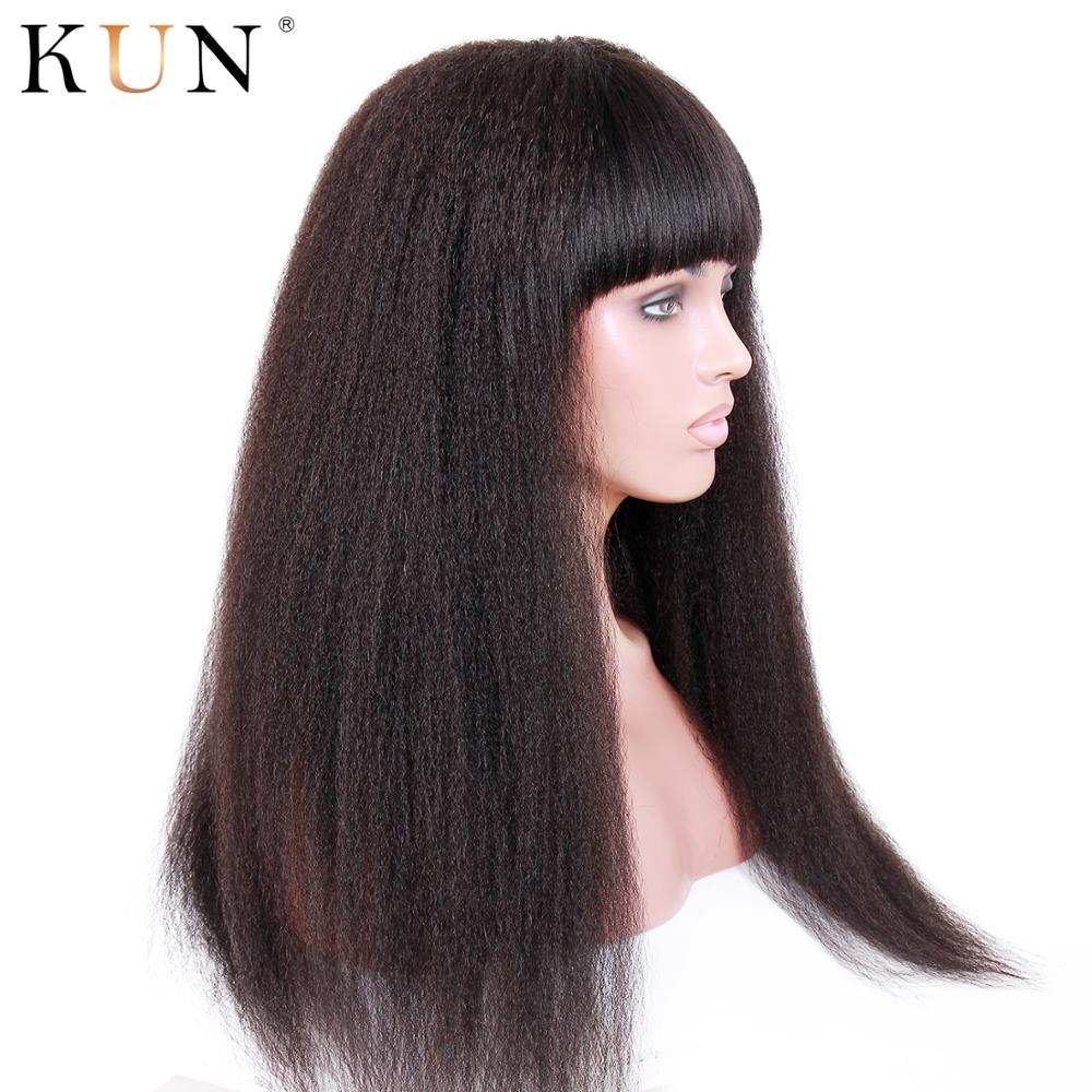 Kinky Straight Wig With Bangs 13x6 Lace Front Human Hair Wigs Brazilian Remy 150 250 Density Lace Front Wig Pre Plucked