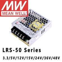Meanwell alimentation électrique 50W, LRS 50 V, 5V, 12V, 15V, 24V, 36V, 48V, série 3.3 pour sortie unique