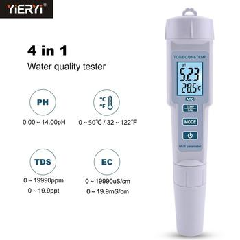 Yieryi New 4 In 1 PH/TDS/EC/Temperature Meter PH Meter Digital Water Quality Monitor Tester For Pools, Drinking Water, Aquariums