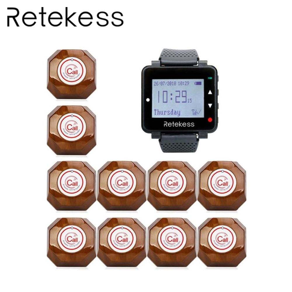 RETEKESS Waiter Wireless Calling System Table Call Bell Pager For Restaurant 1 Watch Receiver 10 Call