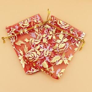 Image 5 - 100 sztuk/partia 15x20,17x23,20x30 cm kwiat róży liść duży torba z organzy woreczki ze sznurkiem ściągającym na wesele torby do pakowania prezentów