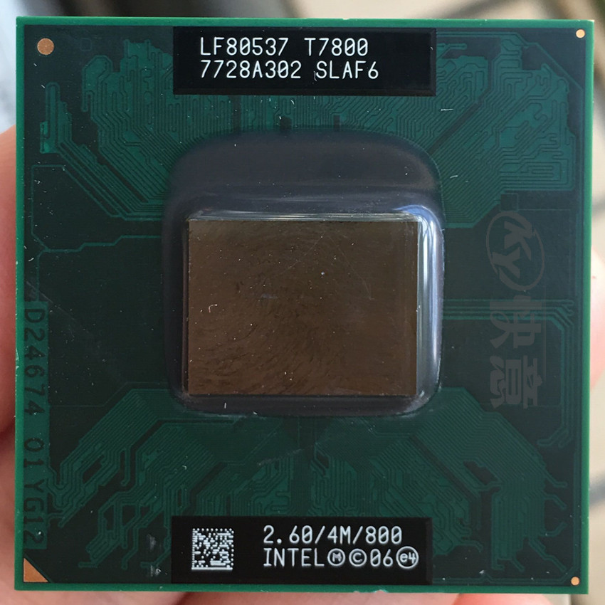 Free Shipping intel CPU laptop Core 2 Duo T7800 CPU 4M Cache/2.6GHz/800/Dual Core Laptop processor support 965-in CPUs from Computer & Office on