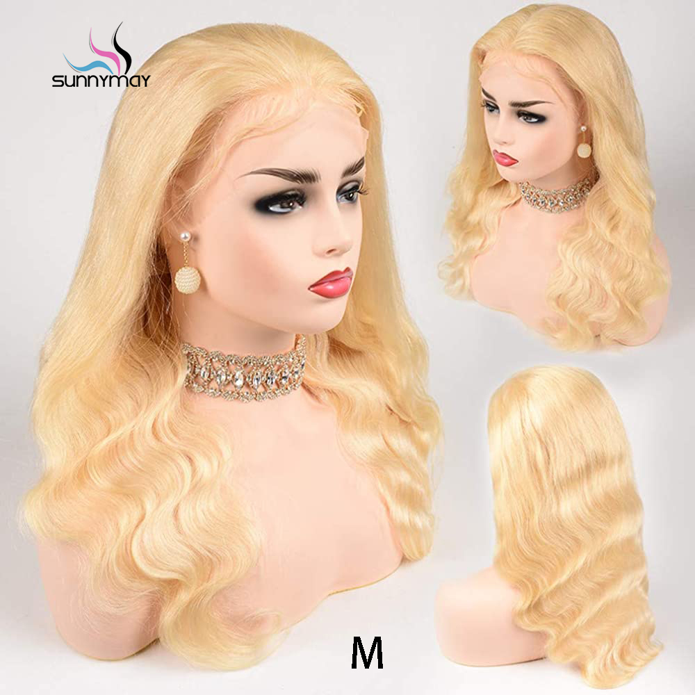 Sunnymay 8-30 inch Blonde #613 Lace Front Wig Human Hair Frontal Melting Gluless 150% 13x4 Colored Body Wave Lace Wigs Remy Hair image