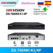 Hikvision nvr 4ch 4k 8mp poe DS-7604NI-K1/4p para câmera ip cctv sistema de segurança vca detecção atualizável plug & play onvif