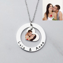 Personalized Photo Necklace Engraved Picture Necklace Silver Heart Stainless Choker Custom Photo Necklace Valentine's Day Gift u7 100% 925 sterling silver heart shape engraved personalized custom photo pendant necklace mother s day gifts for lovers sc83