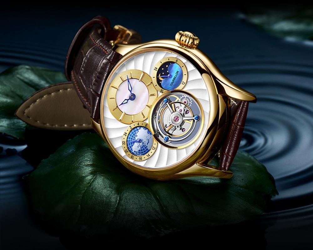 Original Tourbillon watch GUANQIN 2019 NEW clock men waterproof mechanical Sapphire leather top brand luxury Relogio Masculino 20