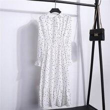 Kobiety jesień kwiatowy Print długa sukienka za kolano eleganckie biuro Lady Chiffion sukienki damska sukienka Vestidos