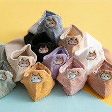 Kawaii Embroidered animal Women Socks Happy Fashion Ankle Fu