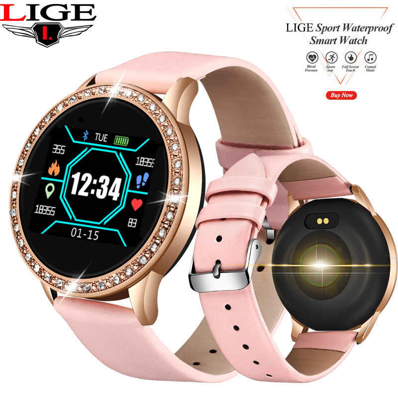 LIGE New Women Smart watch Full Screen Diamond Smartwatch Sport Waterproof Heart Rate Monitor Blood Pressure Fitness Tracker N58