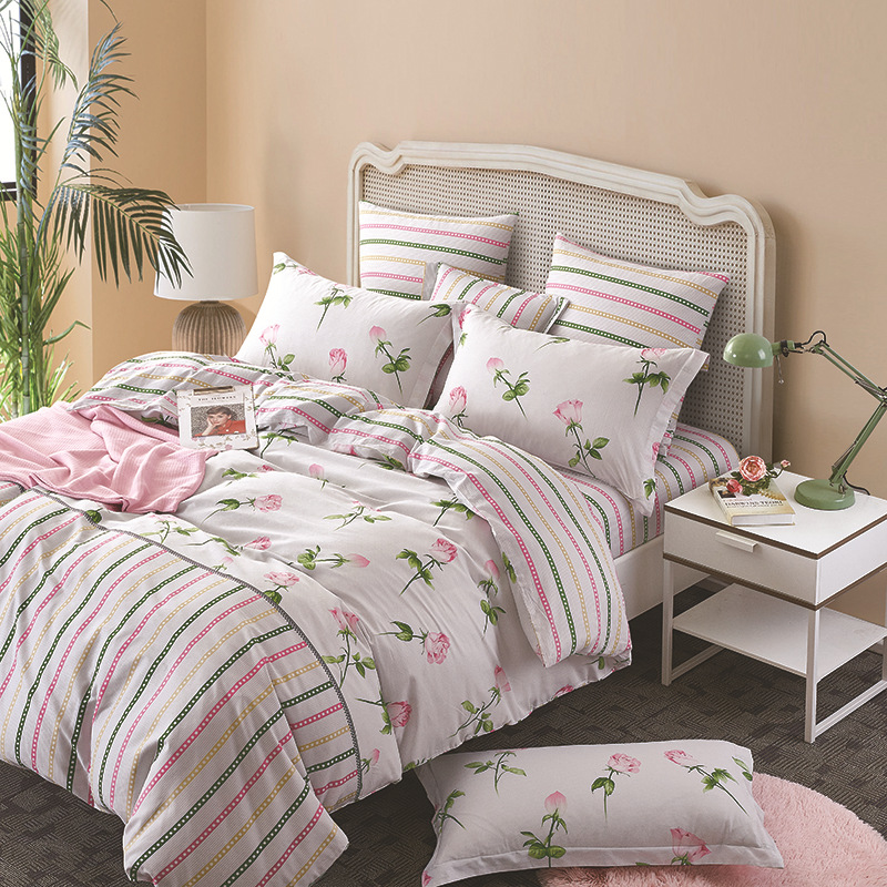 DOHIA Printed Four Piece-suit Bedding Set Pure Cotton Reactive Printing And Dyeing Cotton Twill Bedding Article Korean Style Pas