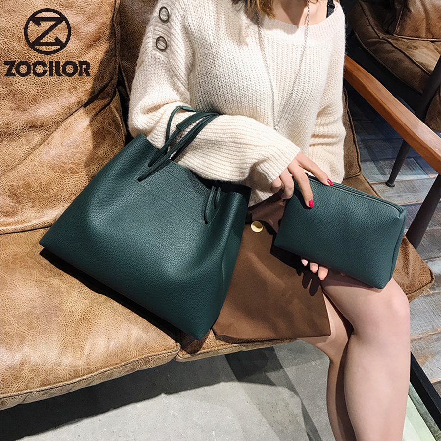 Fashion  2Pcs/set PU Leather Woman Shoulder Bags Brand Handbags Women Bucket Bags Designer Messenger Bag High Quality Women Bag
