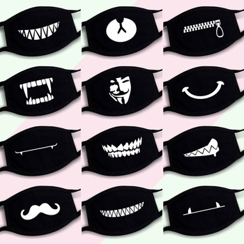 1pc mouth mask light in the dark anti dust keep warm cool unisex mask black noctilucent cotton face mask l35 Dustproof Mouth Mask Pop Cotton Face Cartoon Face Reusable Fabric Anti Pollution Mask Party Face Mask Fashion Anti Dust