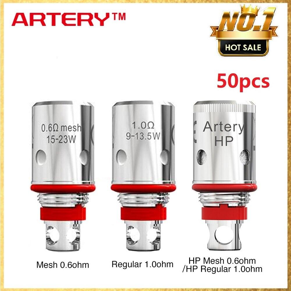 50pcs PAL PAL II Bobina Artéria 2 Cabeça com Regular Da Artéria 1.0ohm/Malha HP 0.6ohm/HP Regular 1.0ohm para PAL 2 Pod Kit Vape Vaporizador
