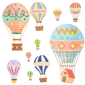Cartoon Hot air balloon series Wall Stickers Kids room Kindergarten Baby room Wall Decals Eco-friendly DIY Art Vinyl Murals 11
