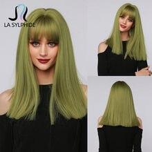 La Sylphide-peluca sintética de pelo medio largo oscuro, postizo de pelo verde con flequillo para mujer, color blanco y negro, para Halloween, Cosplay, fiesta y Club
