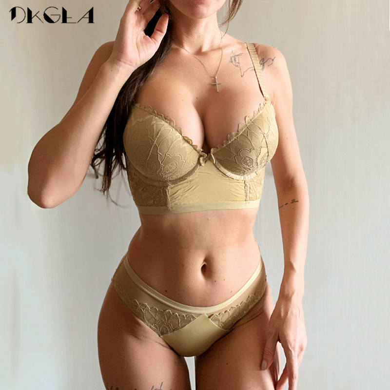 Fashion Gather Brassiere A B C Cup Lace Lingerie Set Embroidery Bras Women Sexy Underwear Set Cotton Thick Push Up Bra Sets
