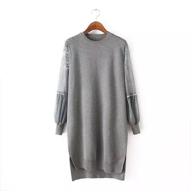 nový styl lucerny rukávy svetr dlouhé šaty krajky o krku strečové pletení velké velikosti široké fit tuky ženy elastické