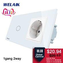 Welaik 2Frame Crystal Glassパネル壁スイッチ euタッチスイッチ画面 eu壁ソケット 1gang 2way AC250V A29128ECW/b