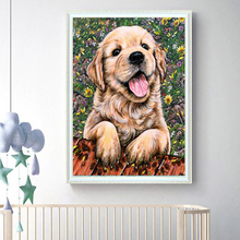 Изображение полного бриллианта милый щенок алмазная живопись 5D Вышивка крестом DIY гостиная картины в спальню