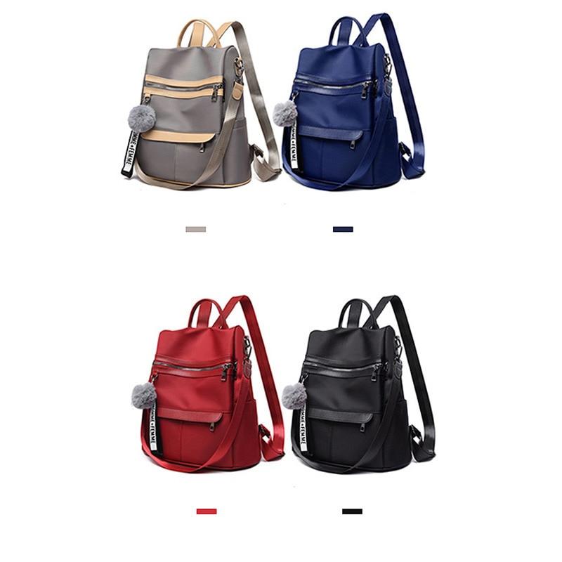 Водонепроницаемый рюкзак из ткани Оксфорд с защитой от кражи, простая ветрозащитная сумка для колледжа, молодежный рюкзак для девушек, подарок с подвеской в виде шарика для волос, 2020-3