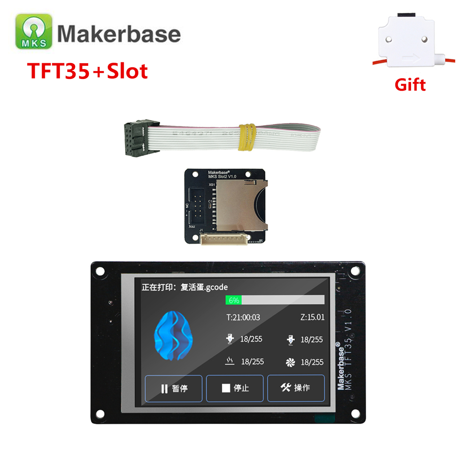3d Printer Display Supplies MKS TFT35 V1.0 Touch Screen + MKS Slot2 Expansion SD Card Reader 3.5 Inch LCD For Creality Cr-10s