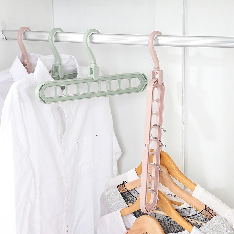 Clothes Coat Hanger Organizer Adjustable Hanger Plastic Wardrobe Storage Rack for Underwear Silk Scarf 9 Holes